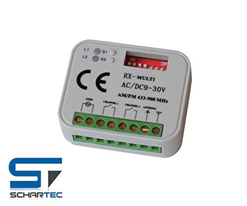 Universal Funkempfänger Schartec RX kompatibel mit Sommer 4020 - Hörmann HSM 4- Marantec 302 - Nice - Faac - Liftmaster - Ditec - V2 Handsender mit 433 MHz und 868 MHz