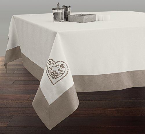EasyNappes Mantel Bordado Rectangular 150x240 cm Antimanchas Crudo con Dobladillo Hilo - tamaño : Rectangular 150x240 cm