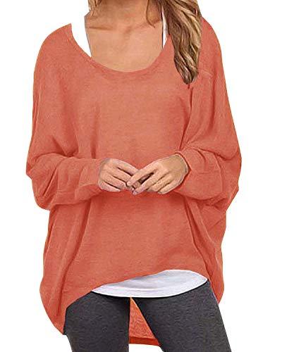 ZANZEA Damen Lose Asymmetrisch Jumper Sweatshirt Pullover Bluse Oberteile Oversize Tops Orange EU 38-40/Etikettgröße M