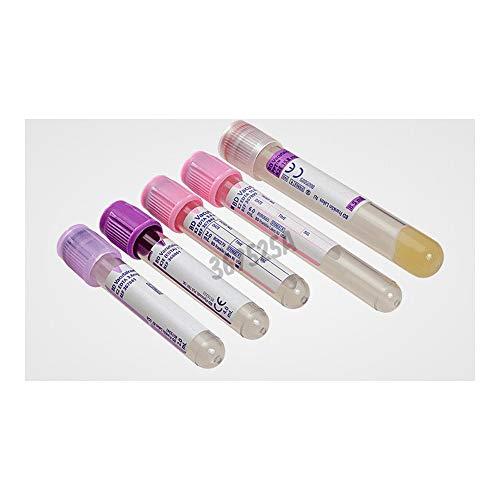BD Medical 367525 Vacutainer K2 Edta de PET tubo para hematología, tapón morado, etiqueta de papel, 16 mm de diámetro, 100 mm de largo, 10 ml, lote de 100
