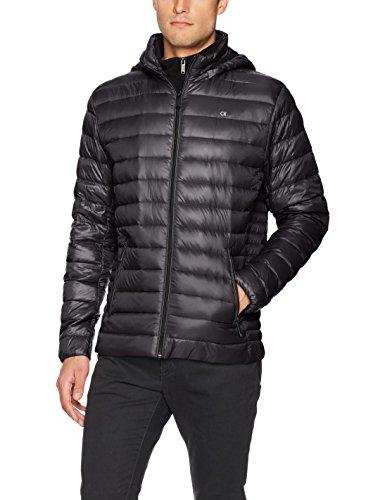 Calvin Klein Men's Lightweight Packable Down Jacket with Fleece Bib and Removable Hood, Black, Medium