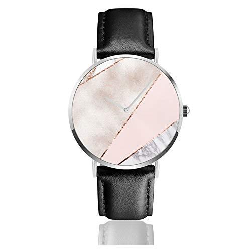 Empalmado mixto oro rosa reloj de mármol movimiento de cuarzo impermeable correa...