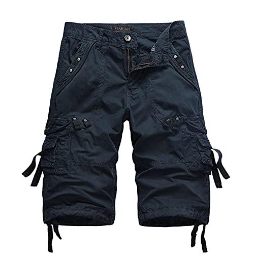 Sannysis Cargohose Herren Kurz Cargo Hose mit Tasche Slim Fit Basic Casual Stretch Chino Hose Sporthose Outdoors Running Cargo Shorts Chinohose Streetwear Strand Arbeitshose Sommerhose