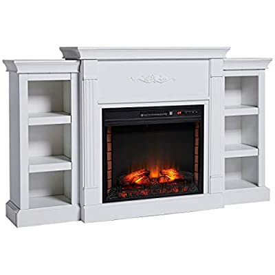 HOMCOM Electric Fireplace Freestanding 1400W Artificial Flame Effect with Detachable Side Cabinets, Wood