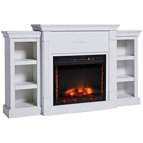 white fireplace with storage - 2