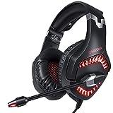 Cascos Gaming CHEREEKI Auriculares Gaming Cascos para Juegos PS4, PC, Xbox One Estéreo Ajustable Gaming con Micrófono y Control de Volumen, Bass Surround y Cancelación de Ruido