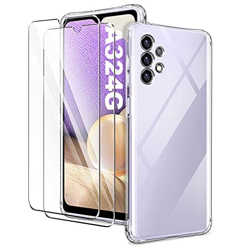 YIRSUR Funda Compatible con Samsung Galaxy A32 4G con 2 Pack Cristal Templado Protector de Pantalla, Carcasa Transparente TPU Silicona Airbag con Protector de Lente de Cámara Incorporado