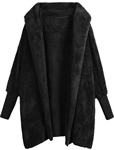 SweatyRocks Women Khaki Hooded Dolman Sleeve Faux Fur Cardigan Coat for Winter Black #2 M