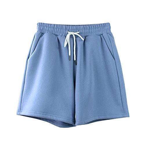 Mode Damen Pullover Sweatshirt Hoodie Lässige Feste Kapuzenpullis Mit Kapuze Frauen Fledermaus Langarm Plus Size Sweatshirts Pullover Pure Fashion Tops S Shorts-Blau