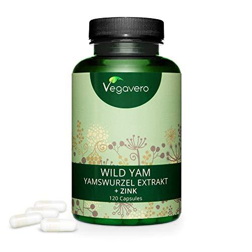 YAMSWURZEL Kapseln Vegavero® | Mit ZINK | 120 Kapseln | HOCHTOSIERT: 1440 mg (Wild Yams Extrakt) pro Tagesdosis | HORMONHAUSHALT* | Ohne Zusatzstoffe & Laborgeprüft | Vegan