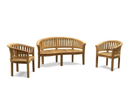 Jati Wimbledon Teak FULLY ASSEMBLED Banana Bench and Chairs Set, Teak Garden Furniture Set Brand, Quality & Value
