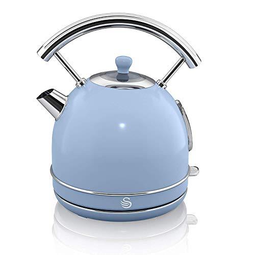 Swan SK14630PN Retro Dome Kettle, Fast Boil, 3kW, 1.8 Litre, Blue