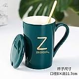 Heliansheng Tazza in ceramica con lettere fortunate Tazza regalo pratica creativa con cucchiaio da caffè Tazza da caffè -Z-tazza singola