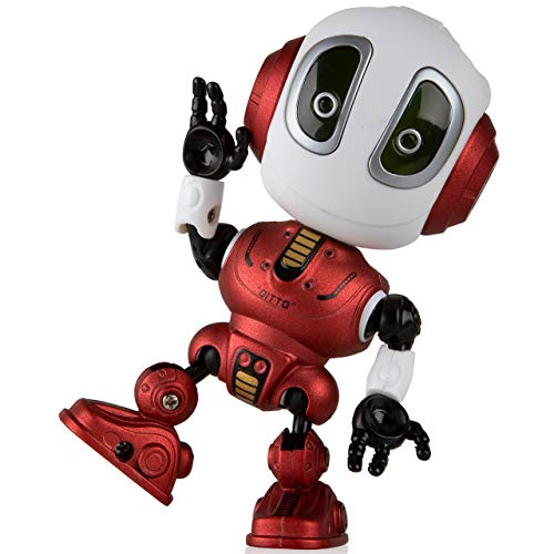 Toy Robots for Boys or Girls - Ditto Mini Talking Robots for Kids w/ Posable Body, LED Light Up Toys Interactive Voice Changer Robot Travel Toys (Fire Red)