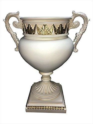 Antikes Wohndesign Griechische Obstschale Dekoschale Schale Pokalvase Römisch Weiß Gold
