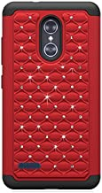 ZTE Blade X Max (Cricket Wireless) Case, Phone case for Walmart Family Mobile ZTE ZMAX PRO/ZTE ZMax Pro Case, Studded Rhinestone Crystal Bling Cover Case (Red)