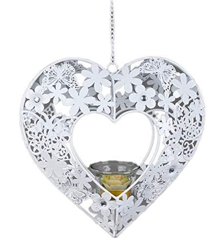 Nostalgie Hänger Leonie Herz weiß 24cm aus Metall mit Glaseinsatz für Teelicht