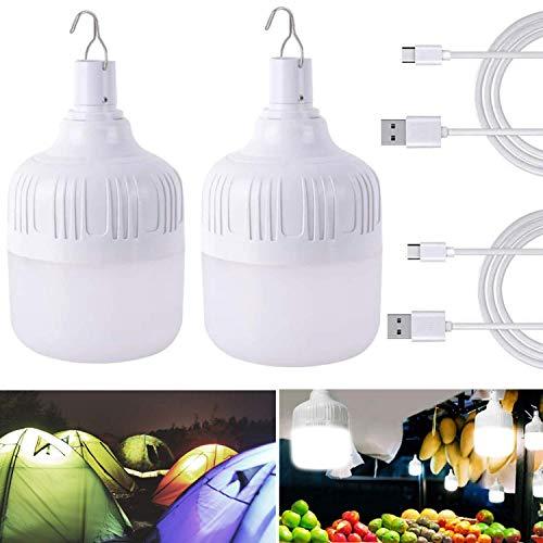 2 Stück USB LED Glühbirne, 50W Tragbar USB LED Light camping Lampe, USB Beleuchtung Taschenlamp Birne für Camping Wandern Angeln Gartenhaus
