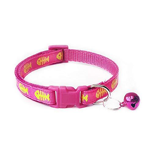 Roze Hondenhalsband, klein, polyester, mooi met klokken, huisdieren, verstelbare halsbanden voor alle seizoenen, ademend, gewatteerd, gezellige, lichte outdoor training, Small