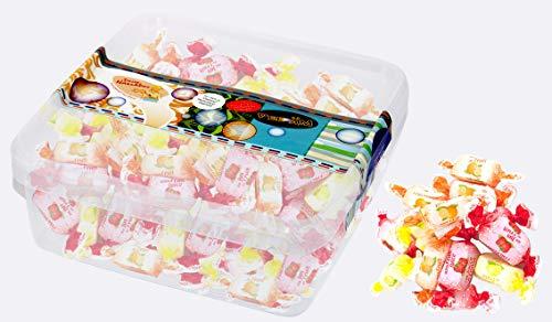 Fruchtsaft Toffees ohne Zucker - in einer praktischen AromaFrischeNaschbox 500g - Deine Naschbox.