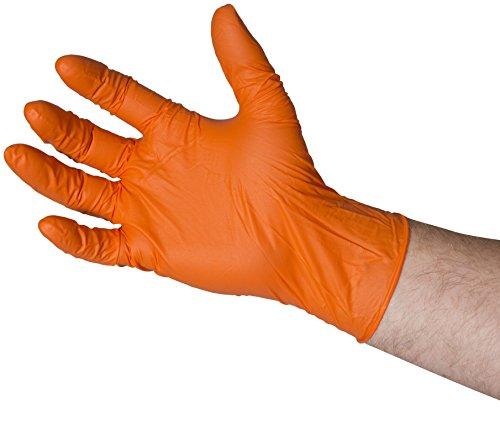 edulab bng6812guantes de nitrilo, sin polvo, Micro con textura, pequeño, Naranja (Pack de 100)