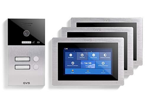 GVS AVS1107U - Videoportero IP de 4 cables, estación de puerta empotrada IP65, monitor de 3 x 7 pulgadas, aplicación HD, cámara de 120 °, función de apertura de puerta, 32 GB de memoria, conmutador PoE, 2 juegos de casa familiar