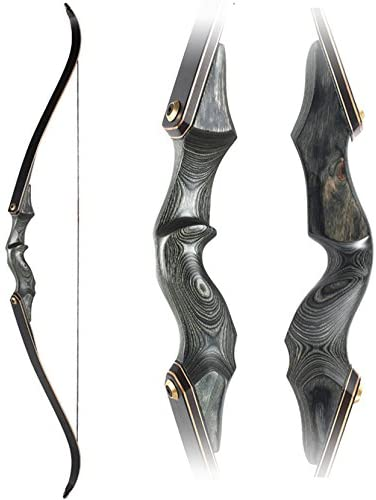 Obert Original Black Hunter Takedown Recurve Bow 60inch with Bamboo Core Limbs Archery Hunting Target Practice