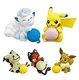 5Pcs Pokemon Anime Figure Pikachu Gashapon Litten Mimikyu Eevee Action Figure Giocattoli 4Cm Per I Bambini Giocattoli Regali