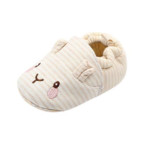 FNKDOR Schuhe Baby Neugeborene Neugeborene Lauflernschuhe Jungen Mädchen Beige 6-12 Monate Weicher Boden Bequem Cartoon Baumwolltuch Babychuhe