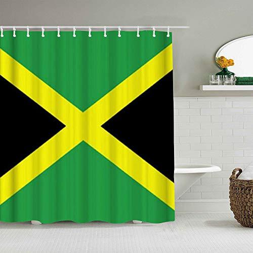 SUHOM Cortina de Ducha,Bandera jamaicana,Tejido de poliéster - con Gancho,180x180