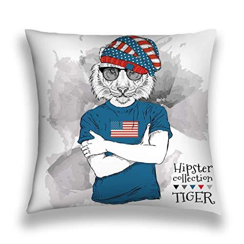 N\A Throw Pillow Cover Funda de Almohada Ilustración Tigre Hipster Vestido con Gafas Imprimir Bandera de EE.
