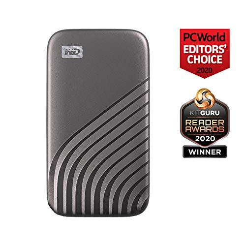 WD My Passport SSD 2 TB externe SSD (externe Festplatte mit SSD Technologie, NVMe-Technologie, USB-C und USB 3.2 Gen-2 kompatibel, Lesen 1050 MB/s, Schreiben 1000 MB/s) dunkelgrau - 2
