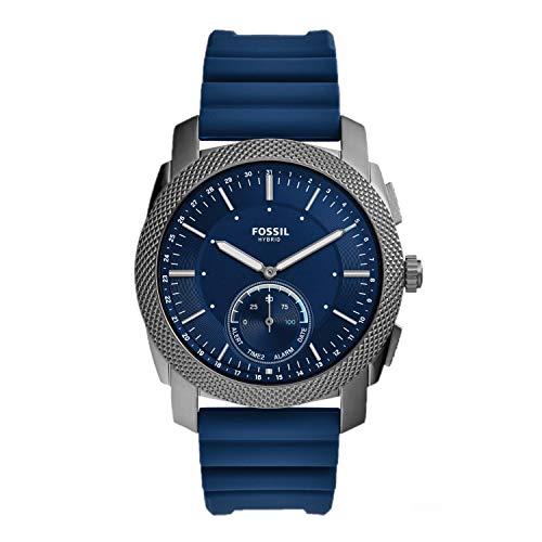 FOSSIL Hybrid Machine - Reloj Inteligente con Correa de Silicona Azul Marino para Hombres - FTW1195