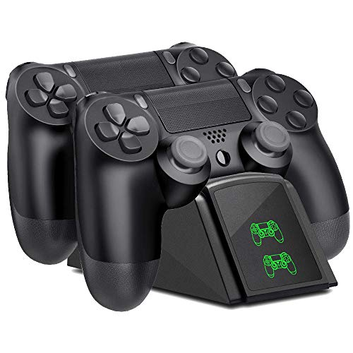 Tihokile Ladegerät für PS4-Controller, Ladestation Dual PS4 mit USB-Ladekabel und LED-Anzeige, kabelloses Ladegerät für PS4 / PS4 / PS4 / PSSlim (schwarz)