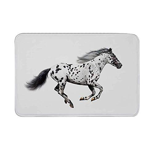 Kinhevao Horse Decor rutschfeste Türmatte, Leistungsstarker Appaloosa Hengst Graceful Royal Pure Blood Champion Dekorative Bodenmatte mit Pferdedruck für das Wohnzimmer im Badezimmer