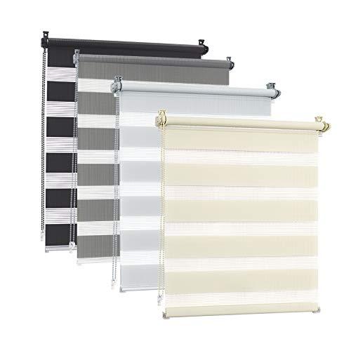 EUGAD Doppelrollo klemmfix ohne Bohren 110x150cm Grau Duo Rollo Klemmrollo Seitenzugrollo Easyfix mit gleichfarbiger Zubehör, Zebrarollo lichtdurchlässig & verdunkelnd, Rollo für Fenster und Tür