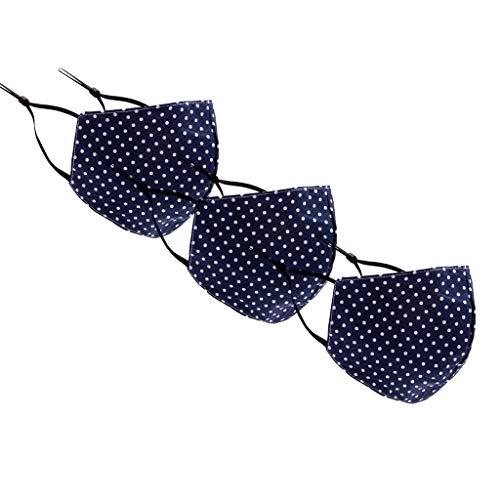 Loopardo 3 Stück Mundschutz Multifunktionstuch 3D Druck Maske Waschbar Wiederverwendbar Stoffmaske Motorrad Staubdicht Mund-Nasen Bedeckung Atmungsaktiv Polka Dot Gepunktet Halstuch Schals