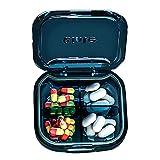 Organizador portátil de píldoras, pastillas, pastillas, pastillero de viaje, lindo, un día, una pequeña pastillera, una pequeña pastilla, bolsa de pastillas, hermética y a prueba de humedad (azul)