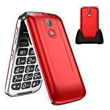 Uleway 3G Senior Flip Phone Unlocked with SOS Big Button Flip Phone Dual Card 2.8 Inch Screen GSM Flip Phone Large Volume Basic Cell Phones with Charging Dock(Red)