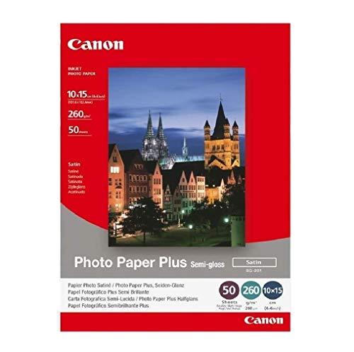 Canon Fotopapier SG-201 Plus Seidenglanz – 10x15 cm 50 Blatt für Tintenstrahldrucker – PIXMA Drucker (260 g/qm)