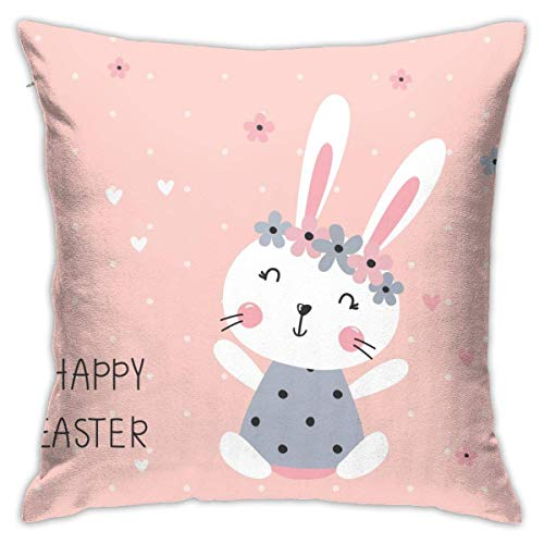 Cute Rabbit Girl Decorative Throw Pillow Cover Zippered Cushion Case for Home Sofa Bedroom Car Chair House Party Indoor Outdoor 18 X 18 Inch 45 X 45 cm