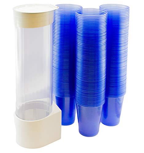1 pack MultiCup dispensador de vasos con montaje en pared Set de plástico blanco con 200 vasos Ø 70 mm 0,2 l azul taza transparente azul
