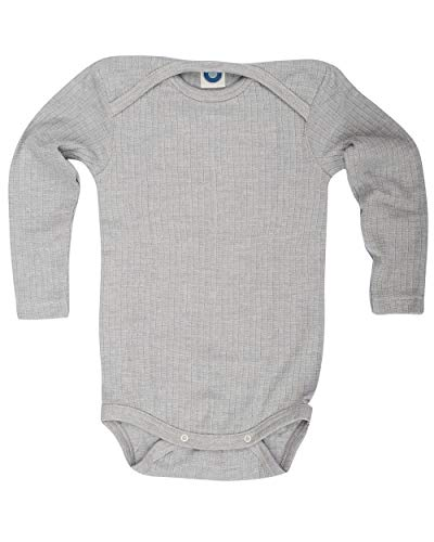 Cosilana, Baby Body Langarm,45% KBA Baumwolle, 35% kbT Wolle, 20% Seide (74/80, Grau meliert)