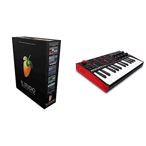 Image Line Fl Studio 20 Producer Edition & Akai Professional Mpk Mini Mk3 – Tastiera Midi Controller Usb A 25 Note Con 8 Drum Pad Retroilluminati, 8 Manopole E Software Incluso