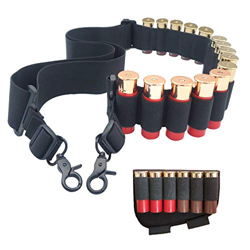 Shotgun Shell Holder with 15 Round Light Adjustable Rifle Sling and 6 Round Buttstock Cartridge Holder for 12 Gauge