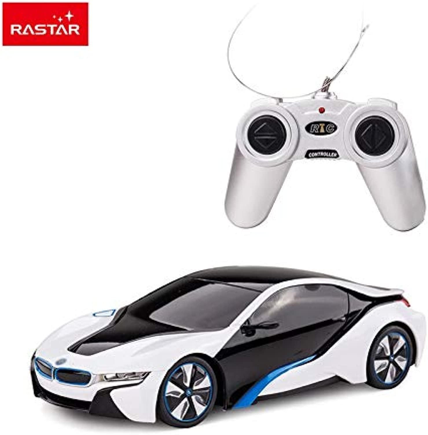 Generic Rastar Licensed rc car 1 24 BMW I8 Silver Stock Turn Left and Turn Right Electric car Mini rc car for Sale 48400 White