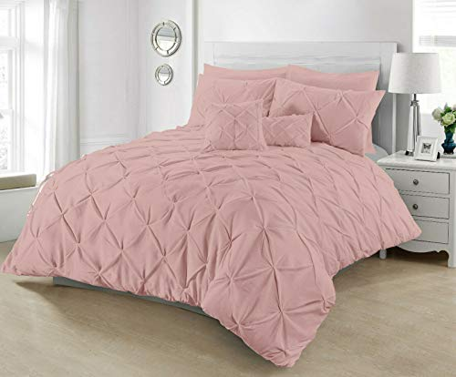 Duvet Cover Set Designer Reversible Chess Pintuck Quilt Covers Cotton Percale Bedding Bed Sets Double King Super King Size With Pillowcases (Soft Pink Pintuck, King)