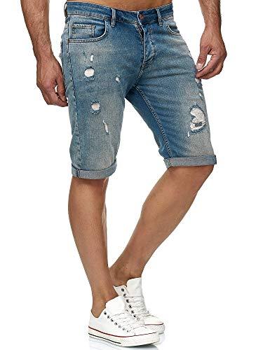 Red Bridge Herren Jeans Shorts Kurze Hose Denim Bermuda Stretch Capri Wrecking Elastisch M4848 Blau W30