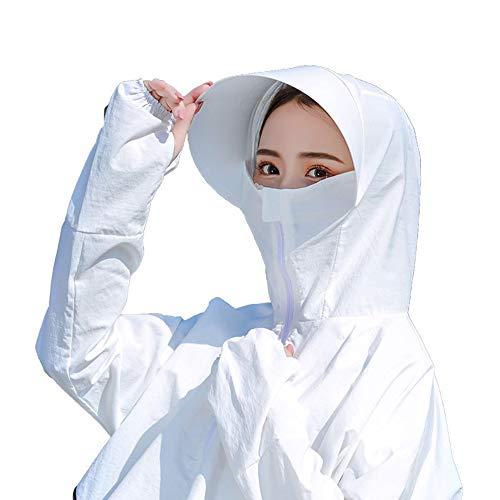 YUXINCAI Dames Cover Gezicht Zonnehoed Zomer Rijden Zonnebescherming Jas En Hoed UV Bescherming Zonnehoed Waterbestendig Snelle Droge Outdoor Hals Vissen Hoed