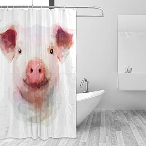 FANTAZIO Duschvorhang Schwein Malerei Polyester Badvorhang dick C-Form Haken Badezimmer wasserdicht langlebig super wasserdicht 182,9 x 182,9 cm